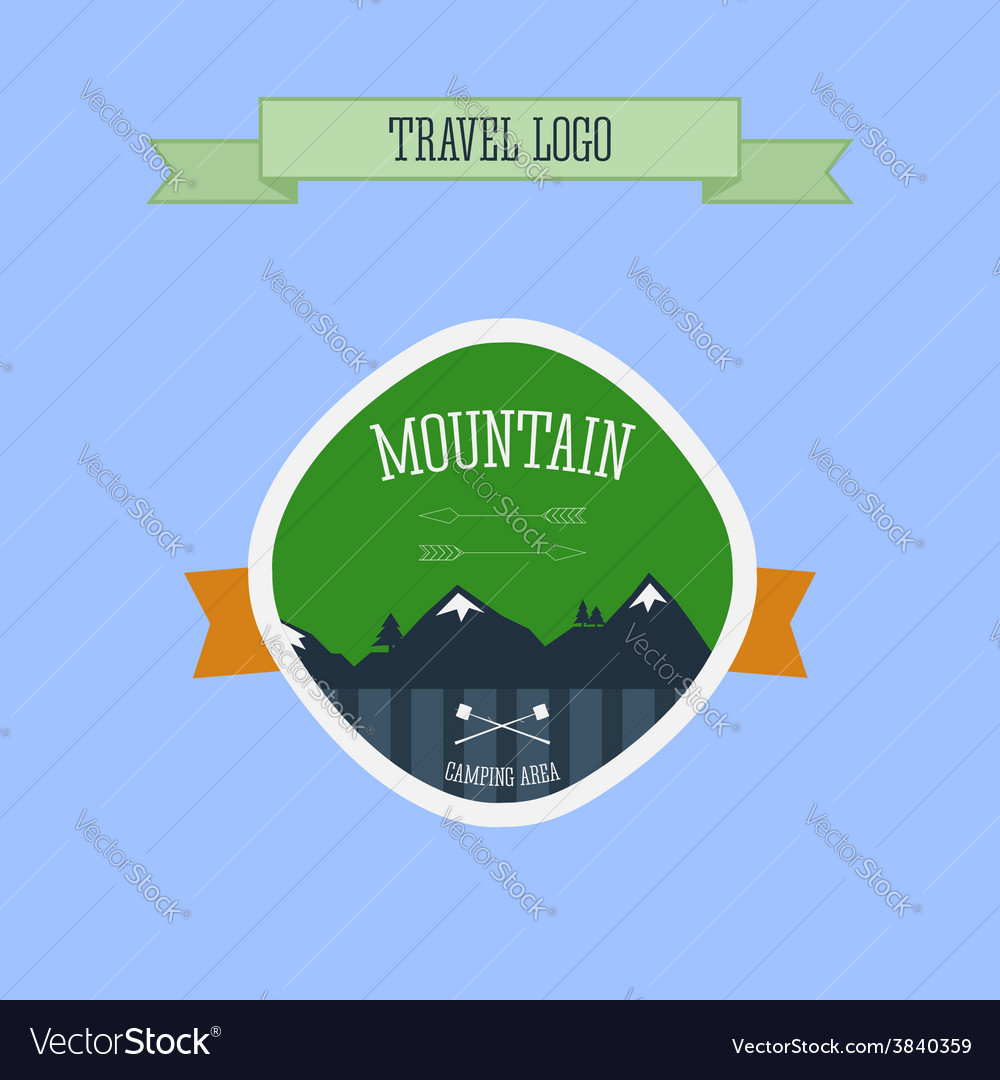 Mountain camping logo label and badge travel vector | Price: 1 Credit (USD $1)