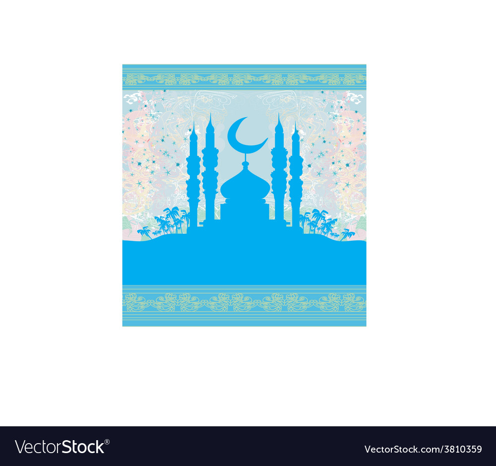 Ramadan background - mosque silhouette card vector | Price: 1 Credit (USD $1)