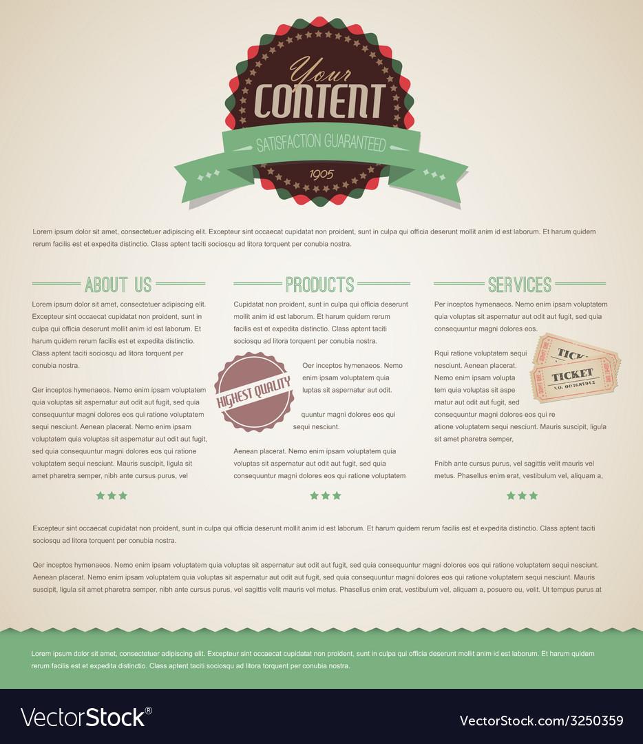Retro vintage web page template vector | Price: 1 Credit (USD $1)