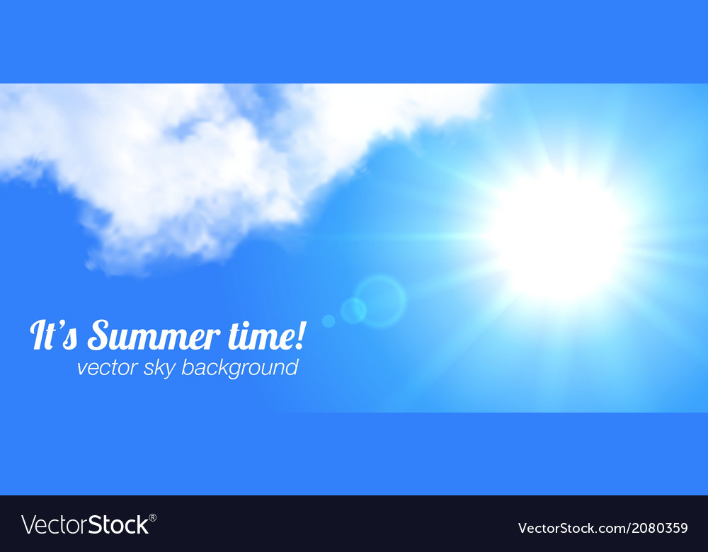 Sun and sky realistic banner vector | Price: 1 Credit (USD $1)
