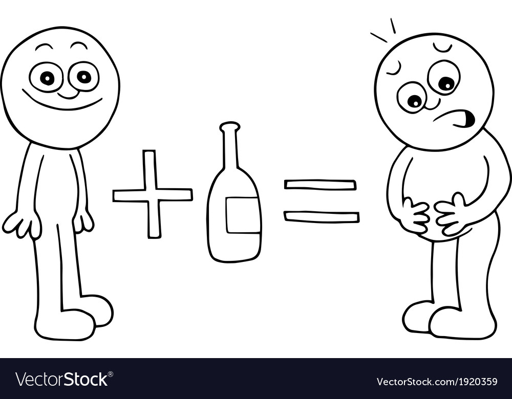 Thin man equals fat man with alcohol vector | Price: 1 Credit (USD $1)