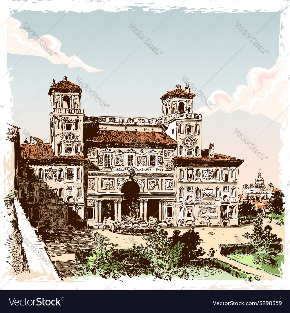 Vintage hand drawn view of villa borghese in rome vector | Price: 5 Credit (USD $5)