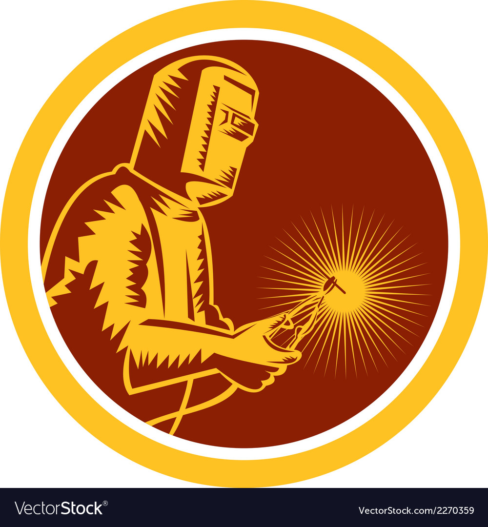 Welder holding welding torch shield retro vector | Price: 1 Credit (USD $1)
