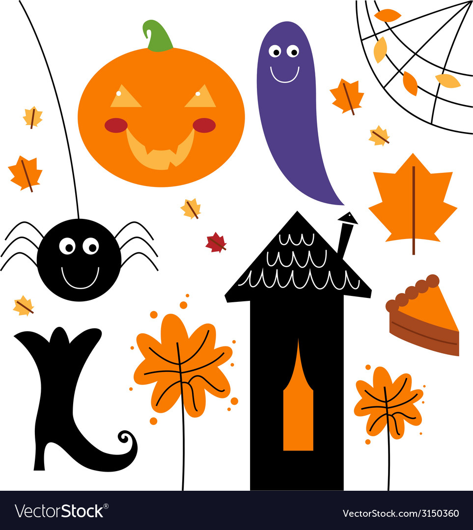 Beautiful colorful halloween elements vector | Price: 1 Credit (USD $1)
