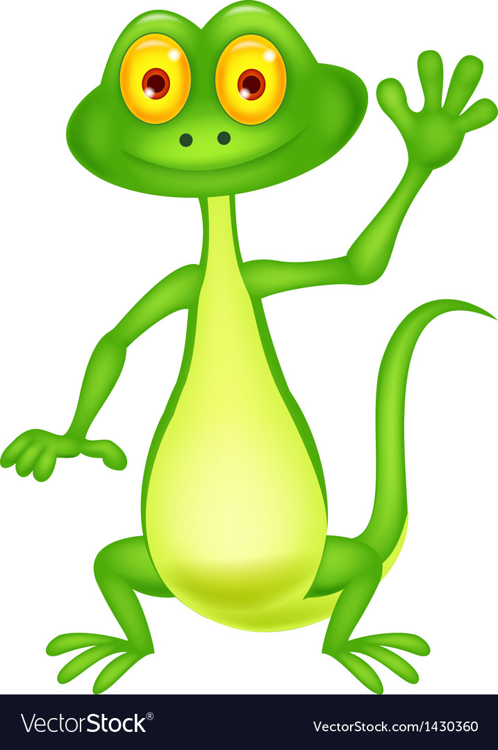 Cute green lizard cartoon waving hand vector | Price: 1 Credit (USD $1)