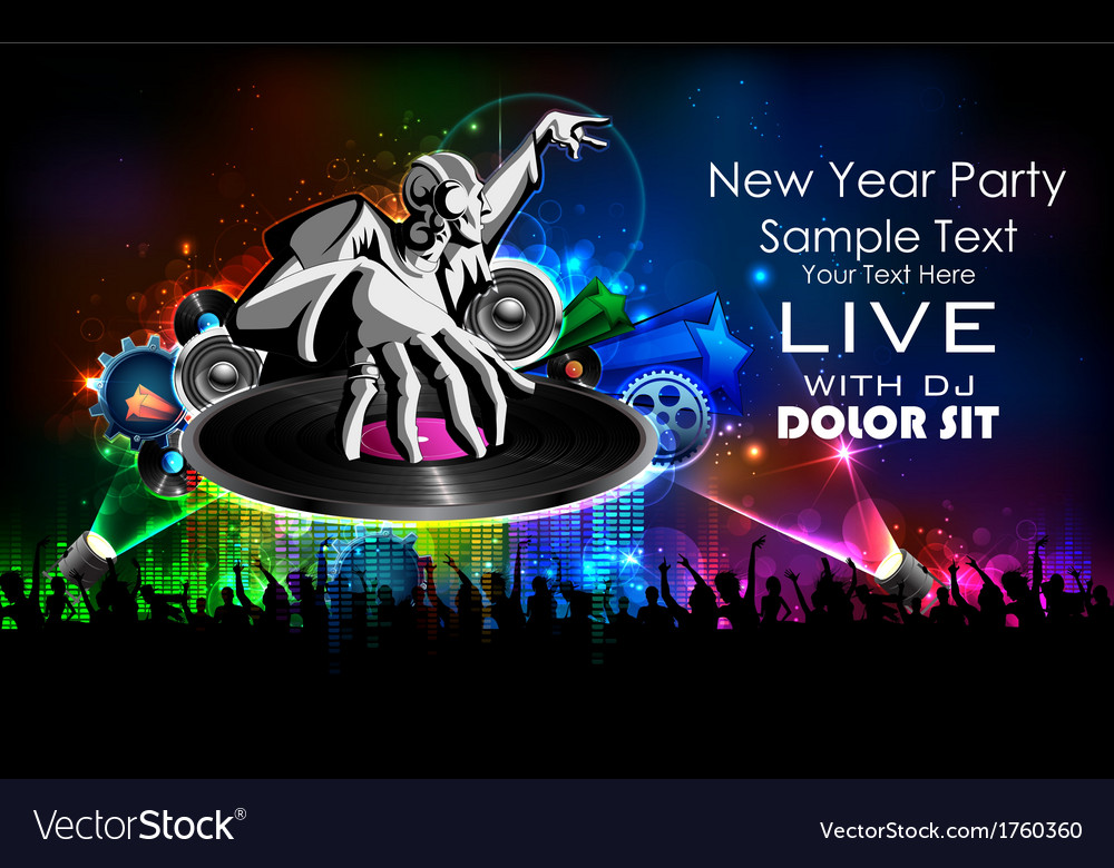 Disco jockey playing music on new year party vector | Price: 1 Credit (USD $1)