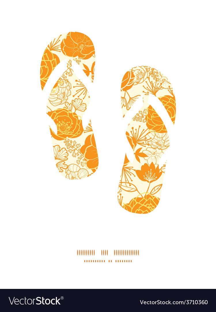 Golden art flowers flip flops silhouettes vector | Price: 1 Credit (USD $1)