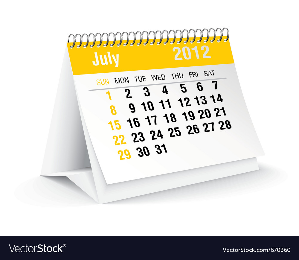 Juy calendar vector | Price: 1 Credit (USD $1)