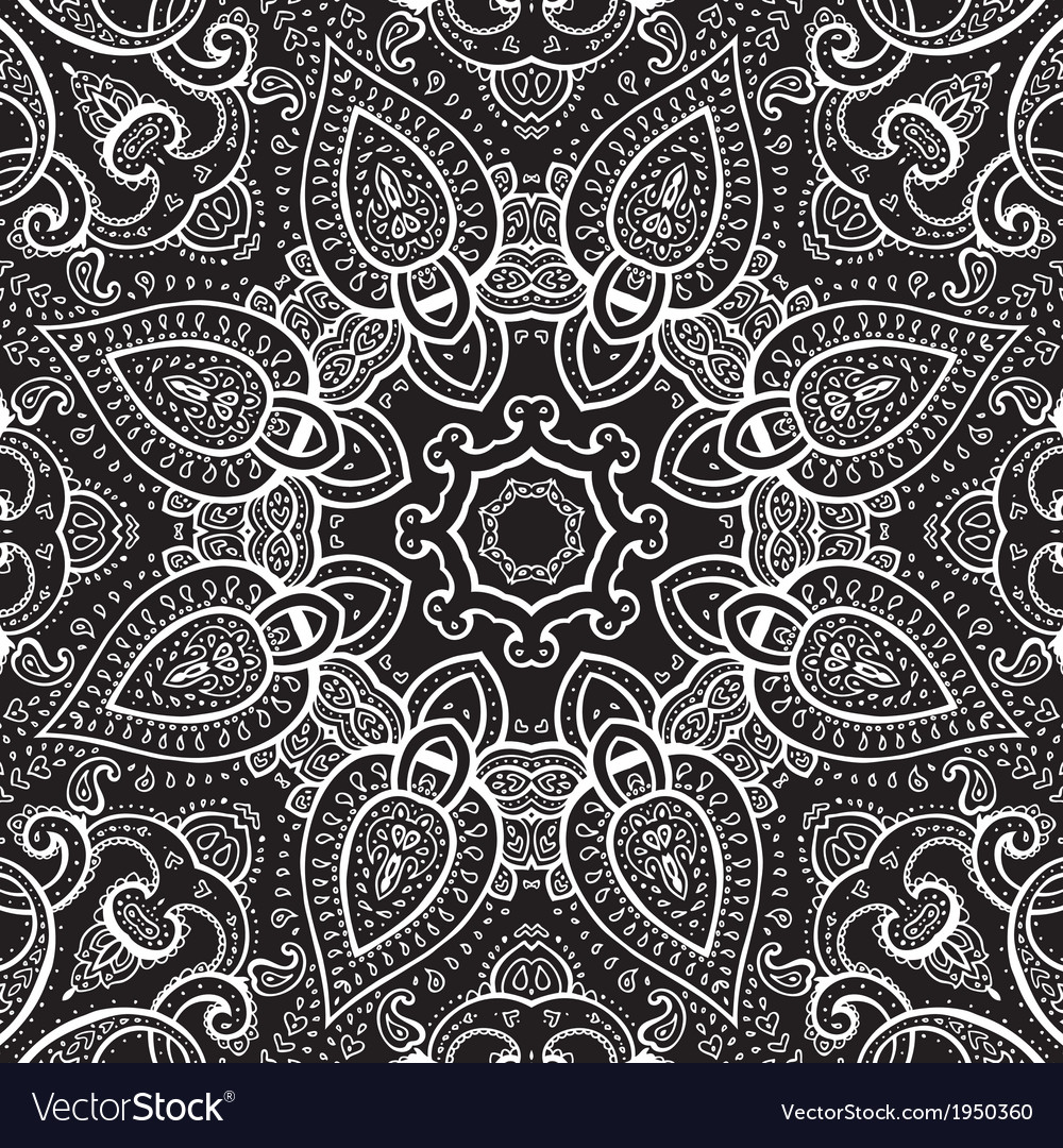 Lace background white on black mandala vector | Price: 1 Credit (USD $1)