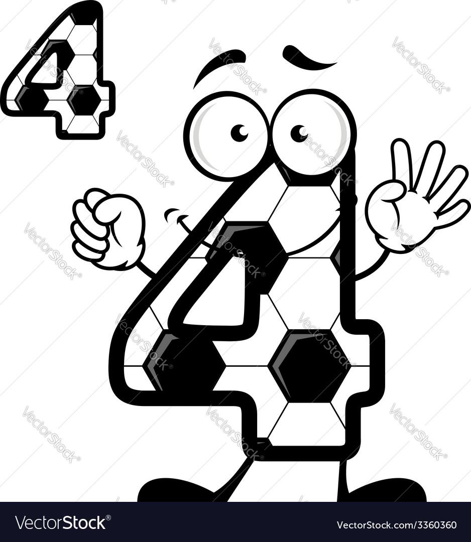 Number four in soccer ball skin vector | Price: 1 Credit (USD $1)