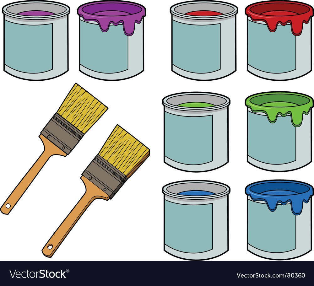 Paint brushes and cans vector | Price: 1 Credit (USD $1)