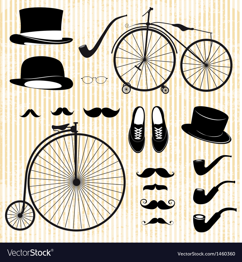 Set of the gentleman and bicycle vector | Price: 1 Credit (USD $1)