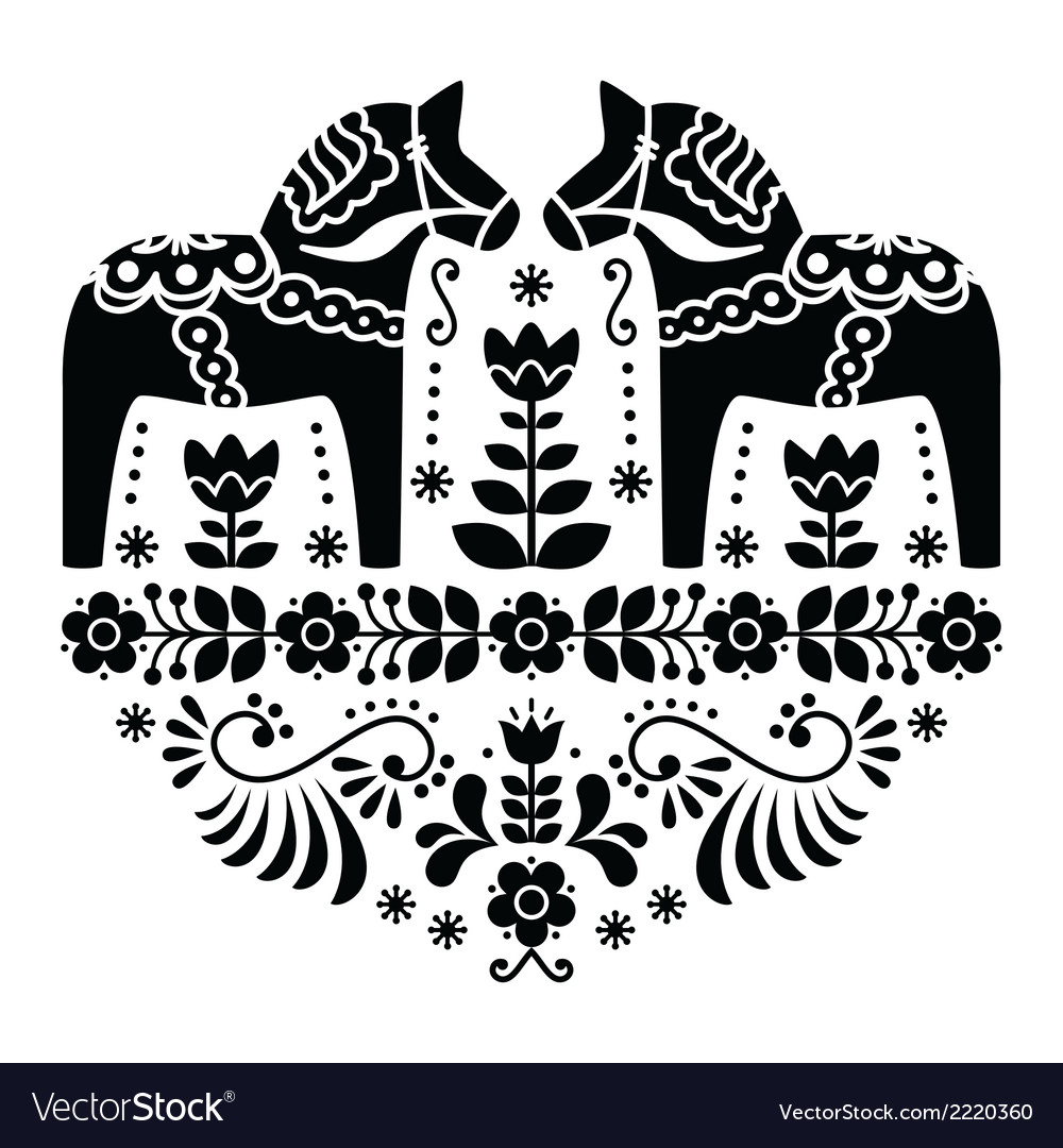 Swedish dala or daleclarian horse folk pattern vector | Price: 1 Credit (USD $1)
