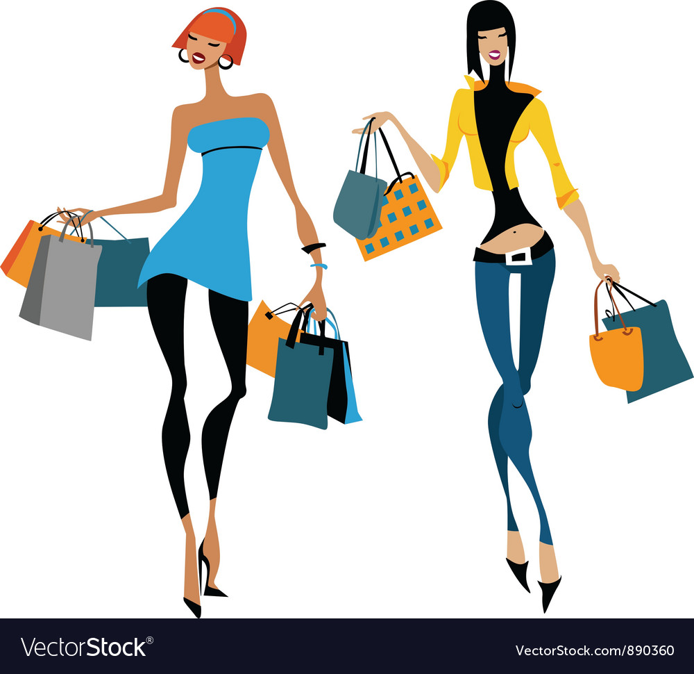 Two women with shopping bags vector | Price: 3 Credit (USD $3)