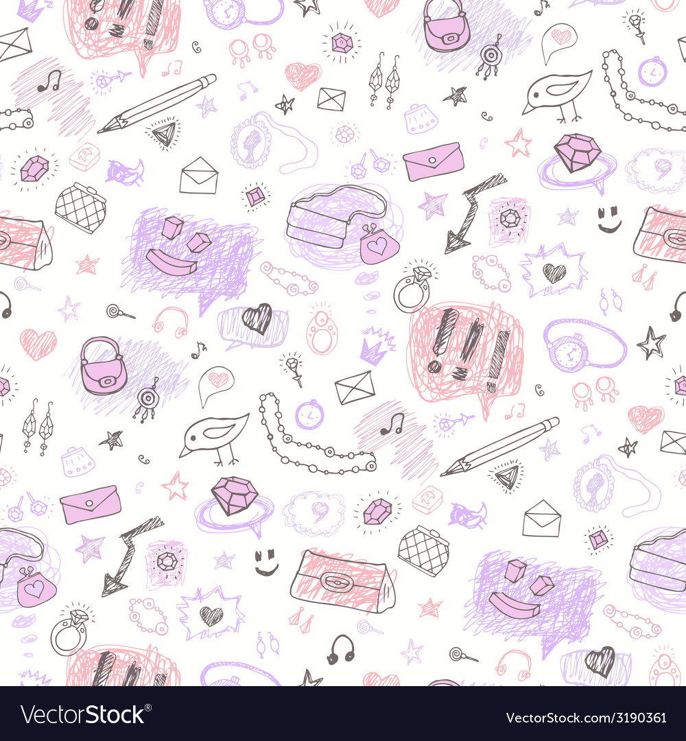 Accessories hand drawn seamless pattern vector | Price: 1 Credit (USD $1)