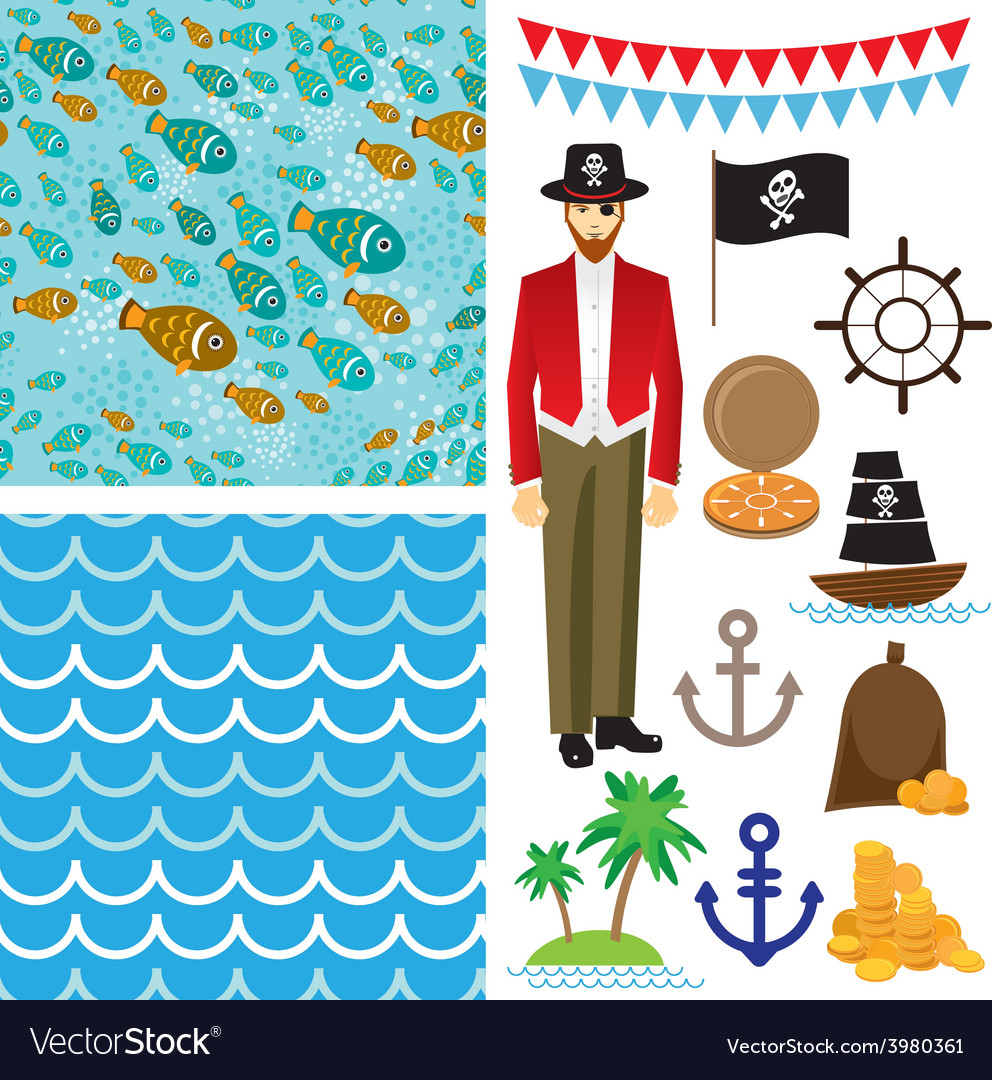 Cute pirate objects collection seamless background vector | Price: 1 Credit (USD $1)