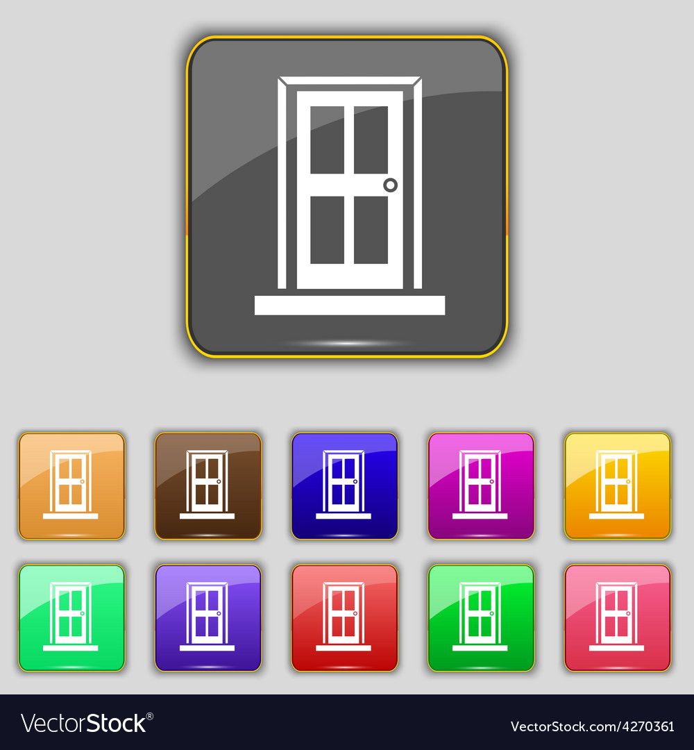 Door icon sign set with eleven colored buttons for vector | Price: 1 Credit (USD $1)