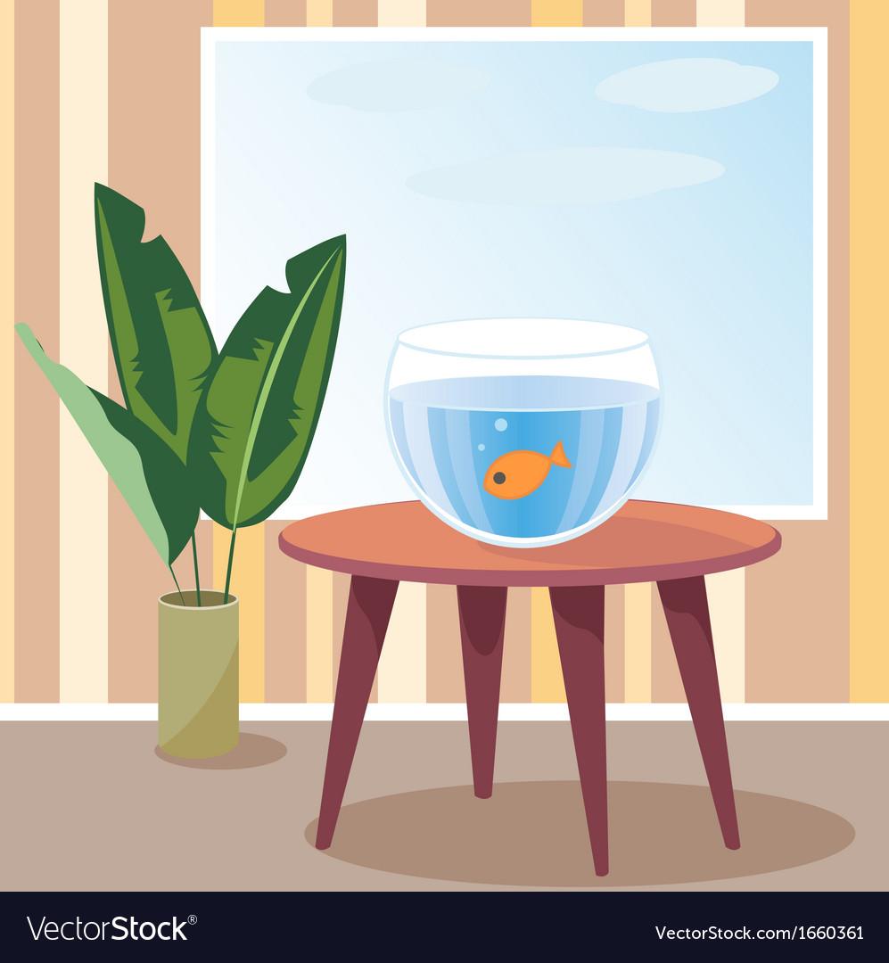 Goldfish in aquarium vector   Price: 1 Credit (USD $1)