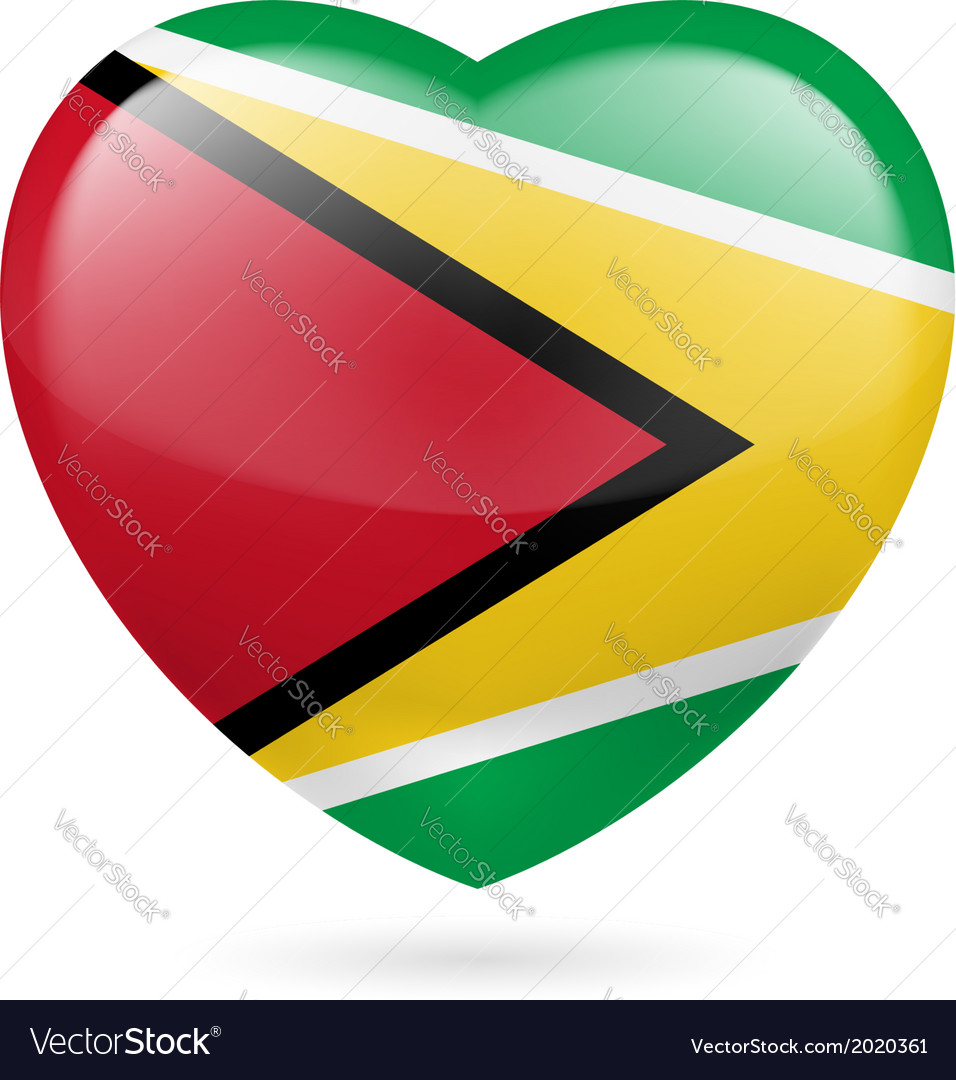 Heart icon of guyana vector | Price: 1 Credit (USD $1)