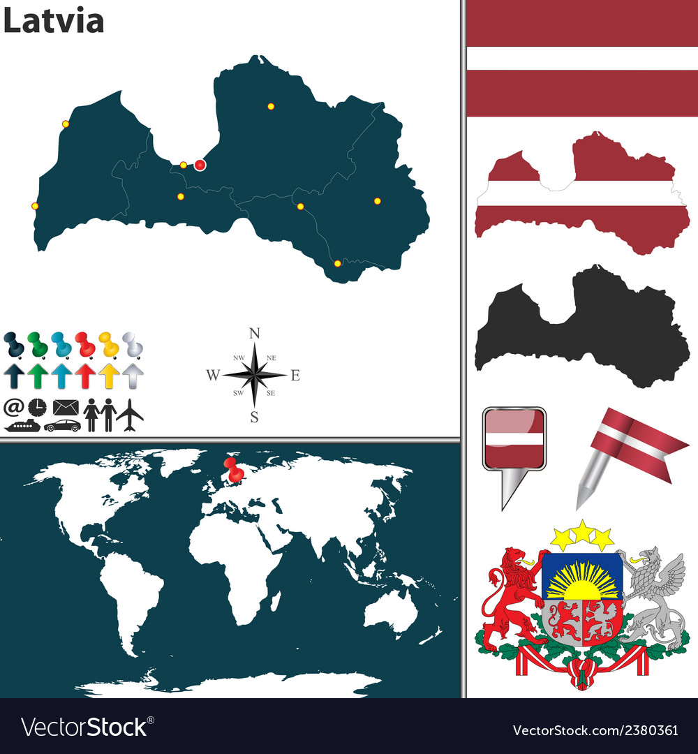 Latvia map vector | Price: 1 Credit (USD $1)