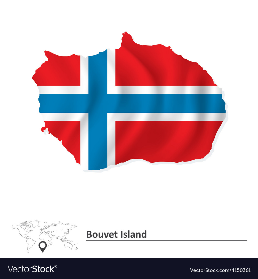 Map of bouvet island with flag vector   Price: 1 Credit (USD $1)