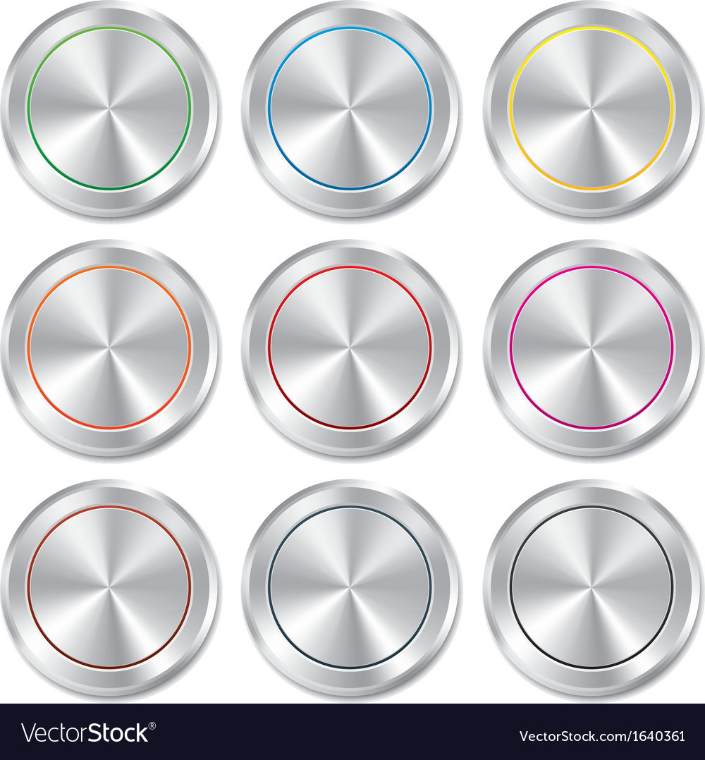 Metallic buttons template set realistic icons vector | Price: 1 Credit (USD $1)