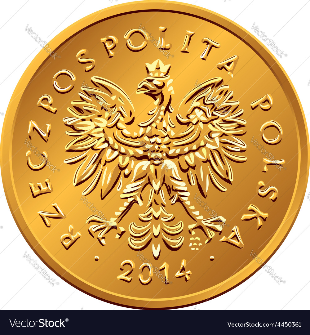 Obverse polish money two groszy copper coin vector | Price: 1 Credit (USD $1)