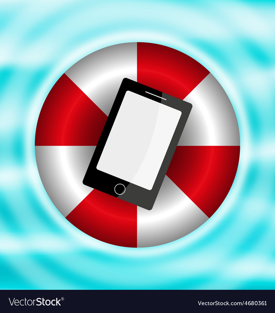 Phone in a lifebelt on the water vector | Price: 1 Credit (USD $1)
