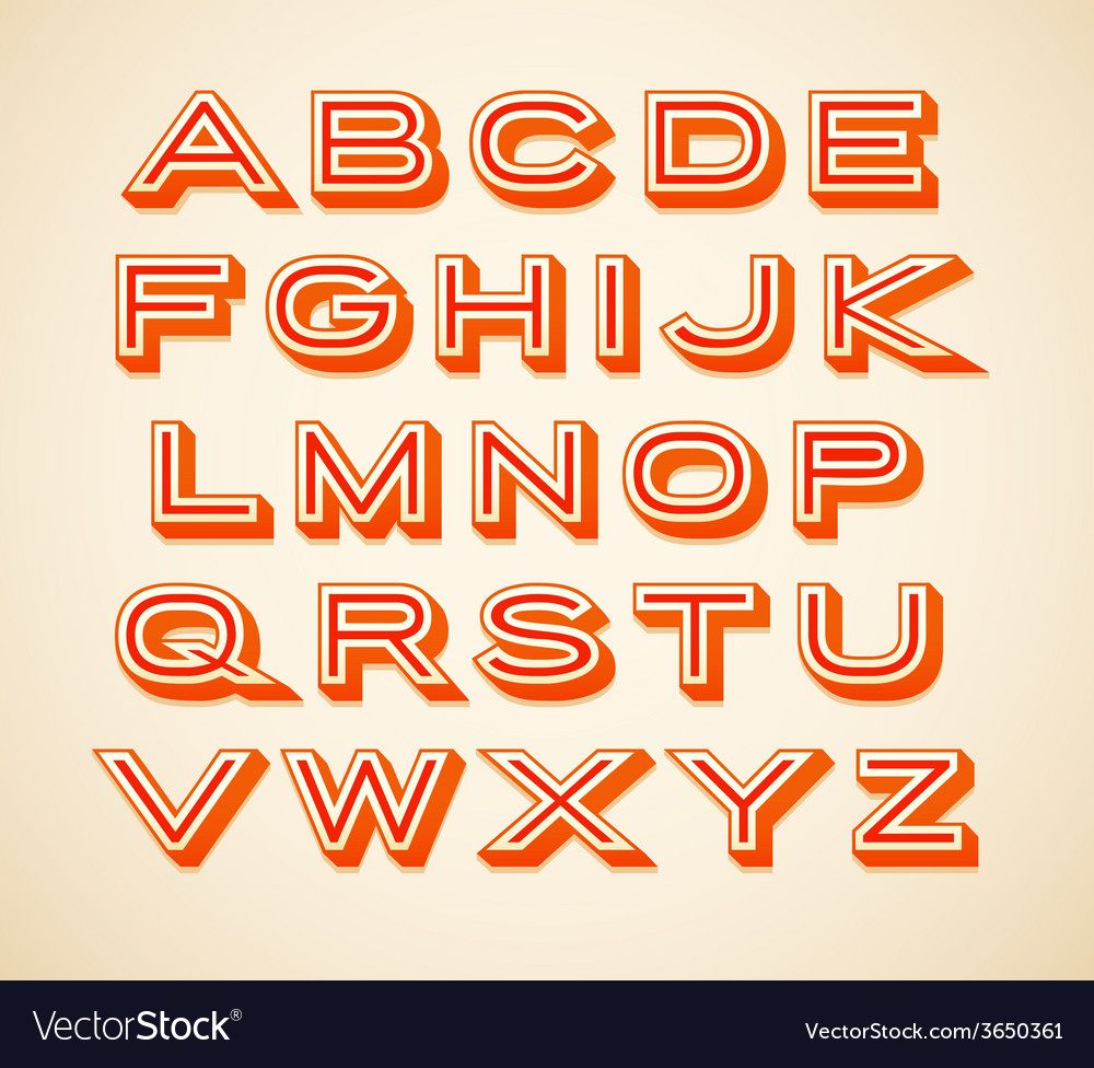 Retro constructor letters collection vector | Price: 1 Credit (USD $1)