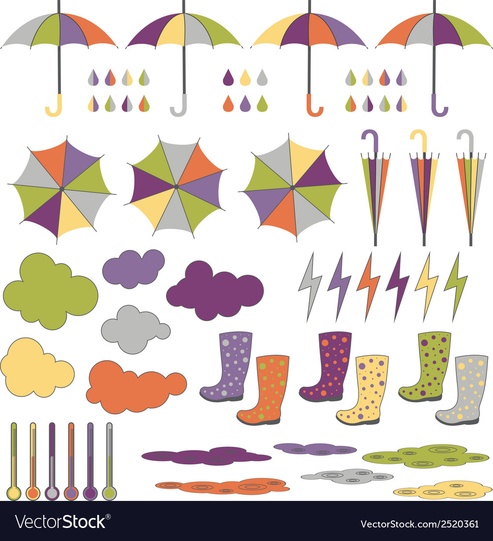 Rubber boots umbrellas rain set vector | Price: 1 Credit (USD $1)