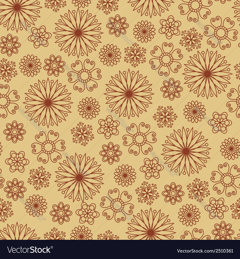 Seamless pattern with brown flowers on beige backg vector | Price: 1 Credit (USD $1)