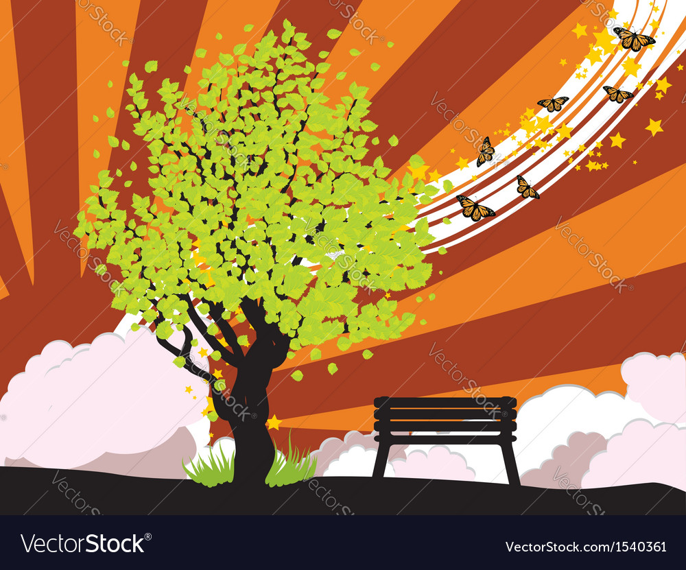 Summer with green tree vector | Price: 1 Credit (USD $1)