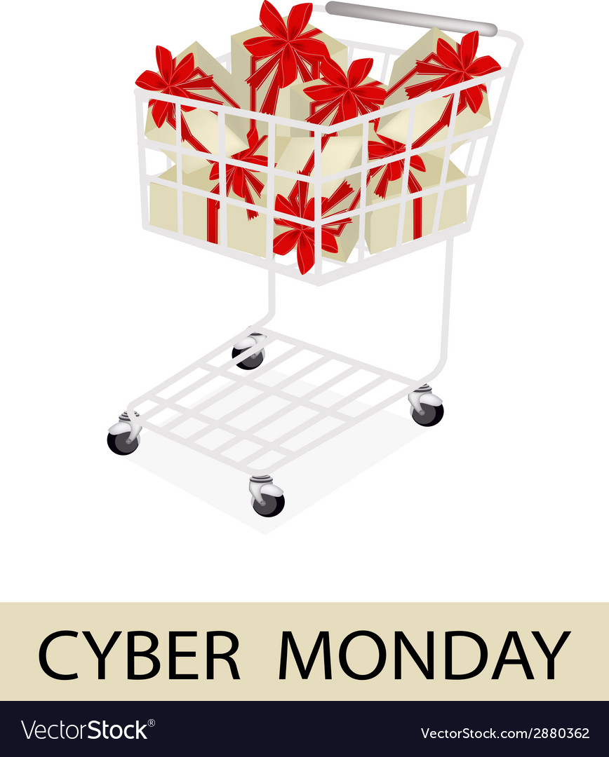 A shopping cart on cyber monday label vector | Price: 1 Credit (USD $1)