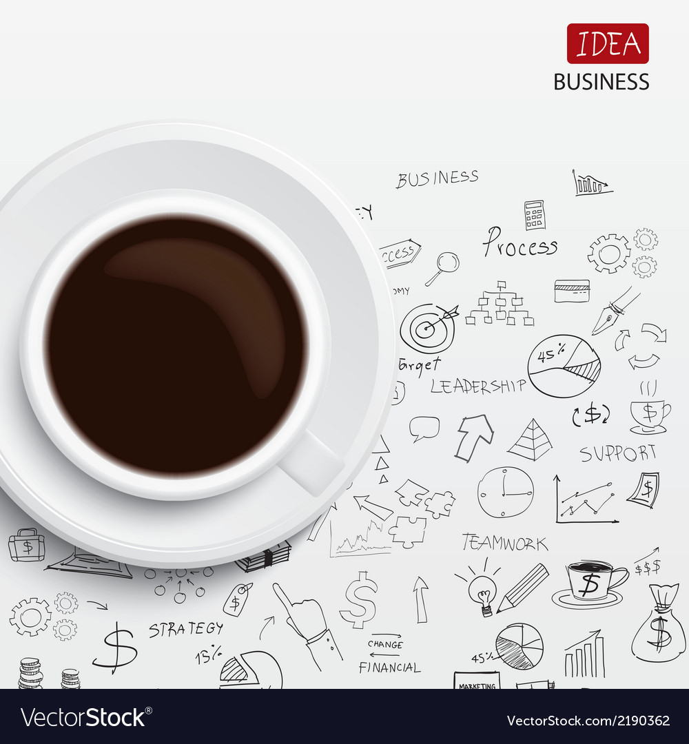 Coffee cup and business strategy business plan ide vector | Price: 1 Credit (USD $1)