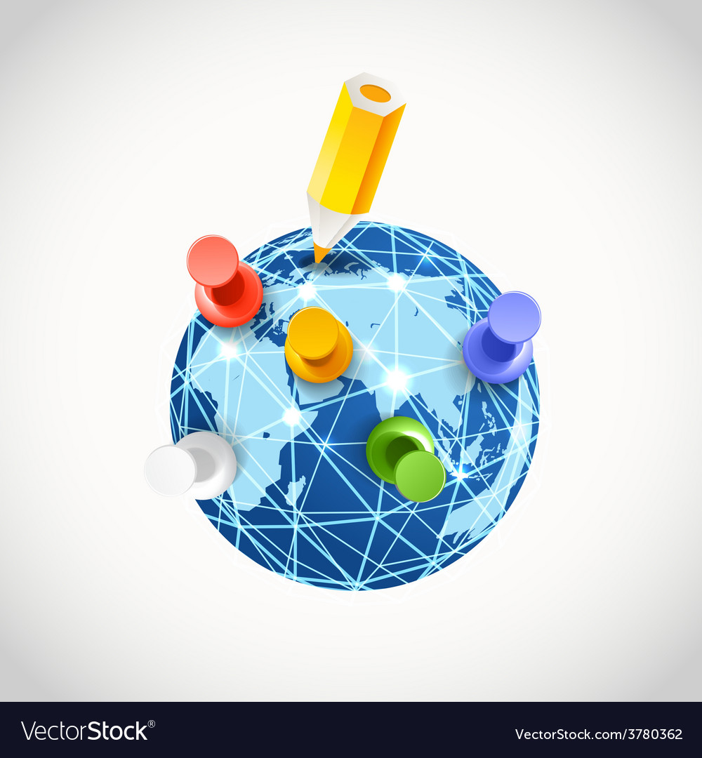 Color pins on the earth vector | Price: 1 Credit (USD $1)