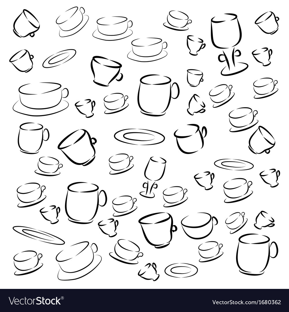 Cup and saucer on a white background vector | Price: 1 Credit (USD $1)