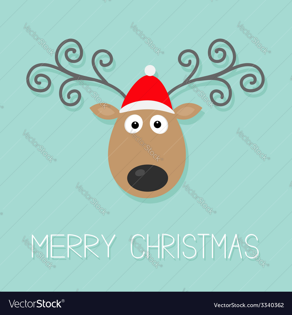Cute cartoon deer with curly horns and red hat vector | Price: 1 Credit (USD $1)