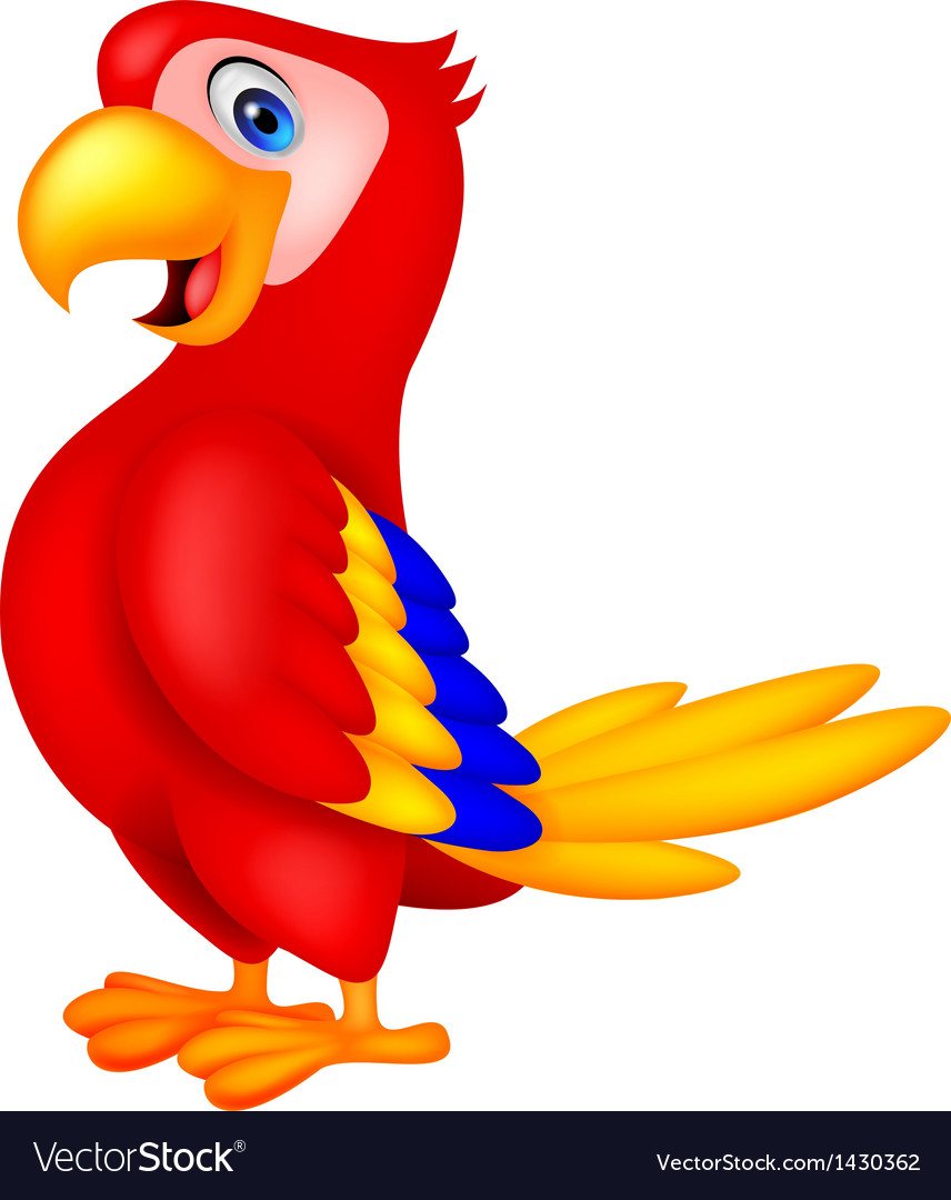 Cute parrot bird cartoon vector | Price: 1 Credit (USD $1)