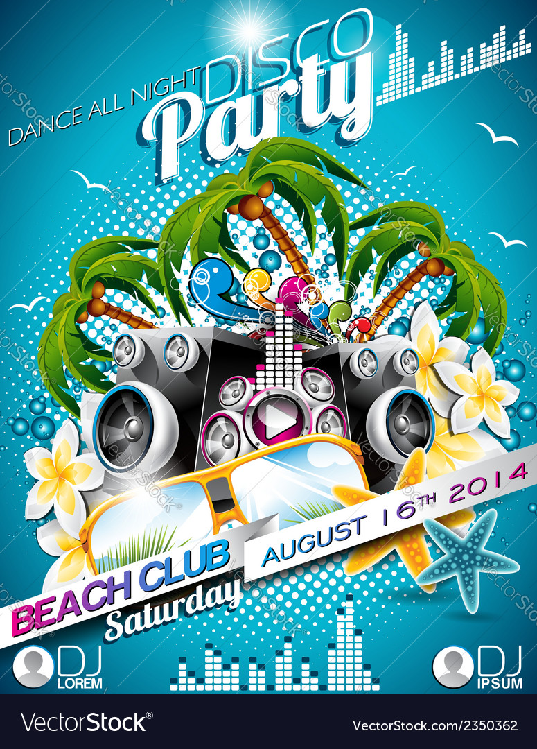 Disco party flyer design with speakers vector | Price: 3 Credit (USD $3)