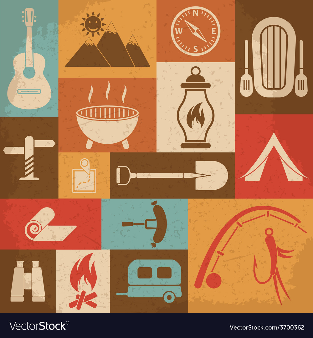 Retro camping icons set icons vector | Price: 1 Credit (USD $1)