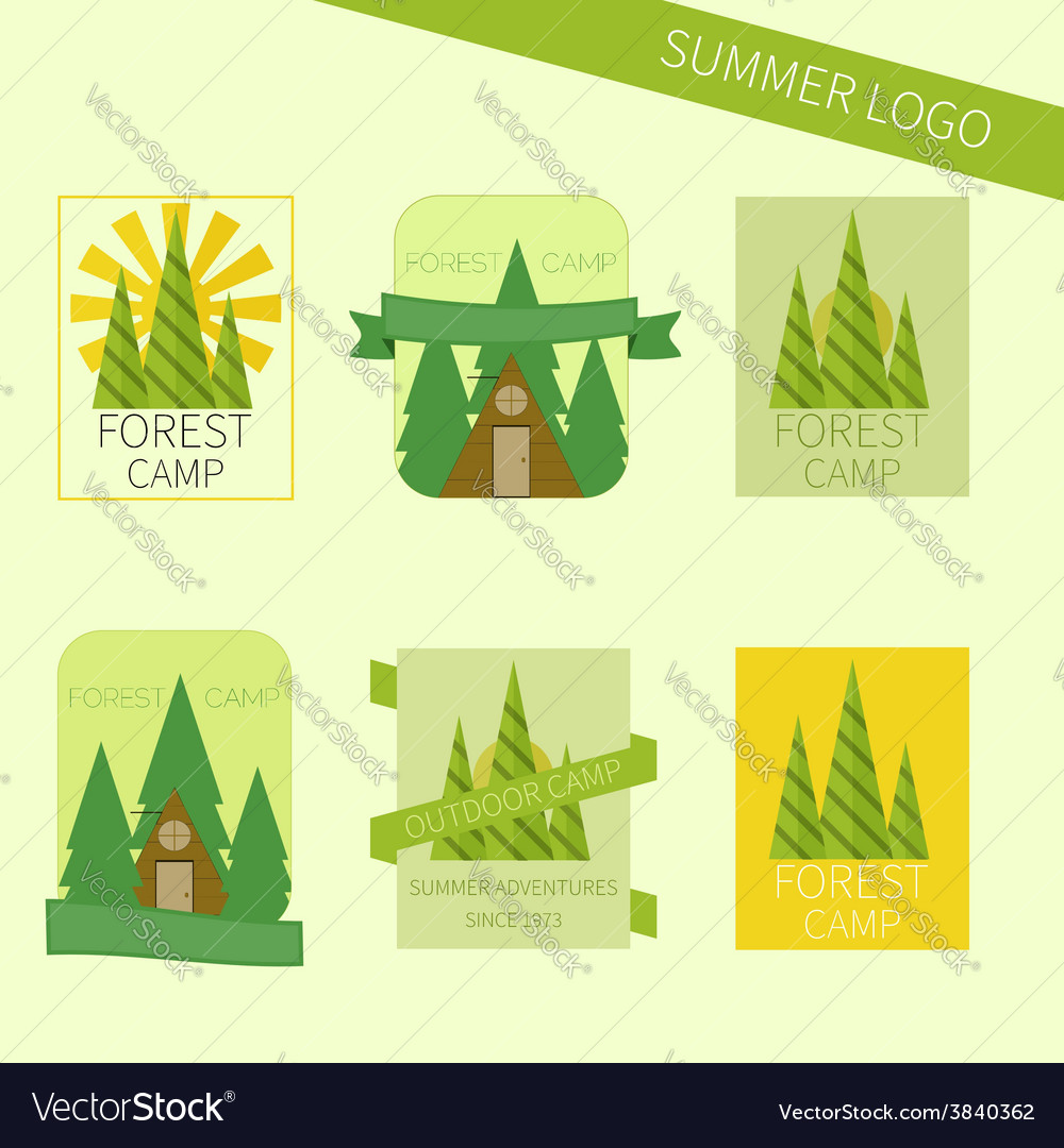 Set of travel and camping logo outdoor emblems vector | Price: 1 Credit (USD $1)