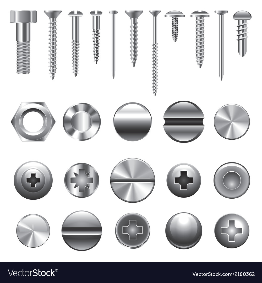 Set screws nails vector | Price: 1 Credit (USD $1)