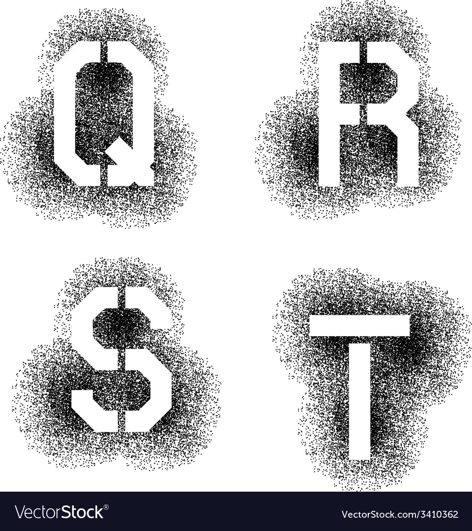 Stencil angular spray font letters q r s t vector | Price: 1 Credit (USD $1)