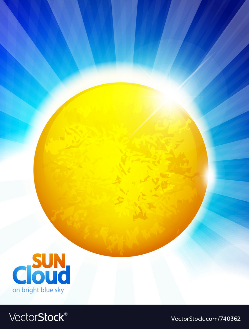 Sun on blue sky background vector | Price: 1 Credit (USD $1)