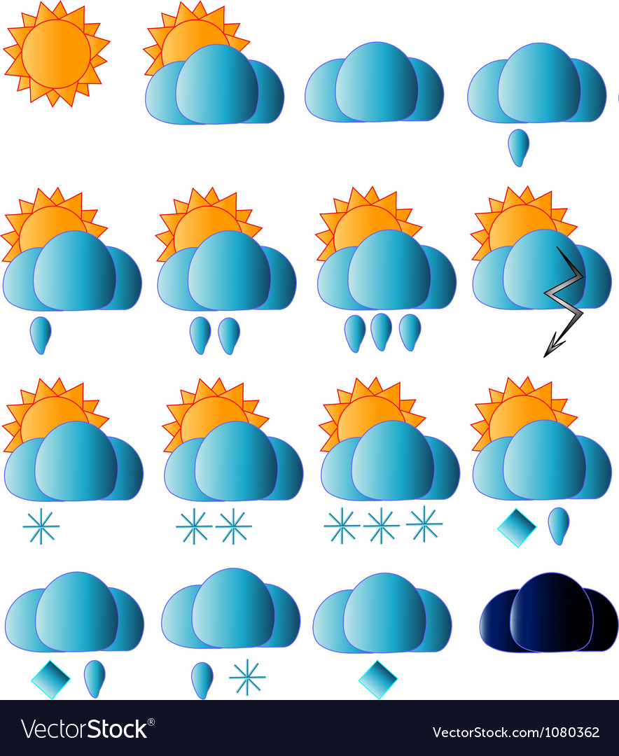 Weather icons collection vector   Price: 1 Credit (USD $1)