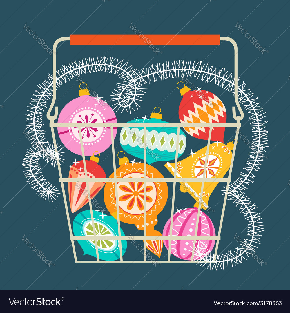 Christmas shopping basket vector | Price: 1 Credit (USD $1)
