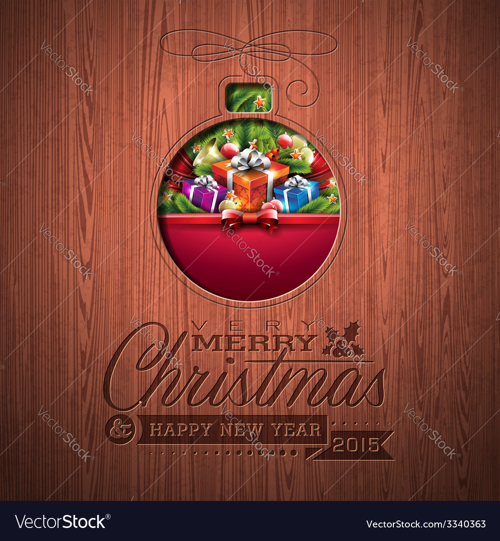 Engraved merry christmas typographic design vector | Price: 3 Credit (USD $3)