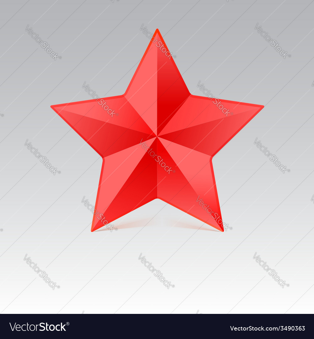 Five pointed star with shadow red color vector | Price: 1 Credit (USD $1)