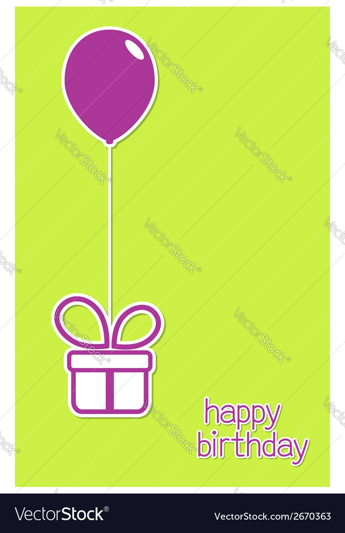 Greeting card with gift box and balloon vector | Price: 1 Credit (USD $1)