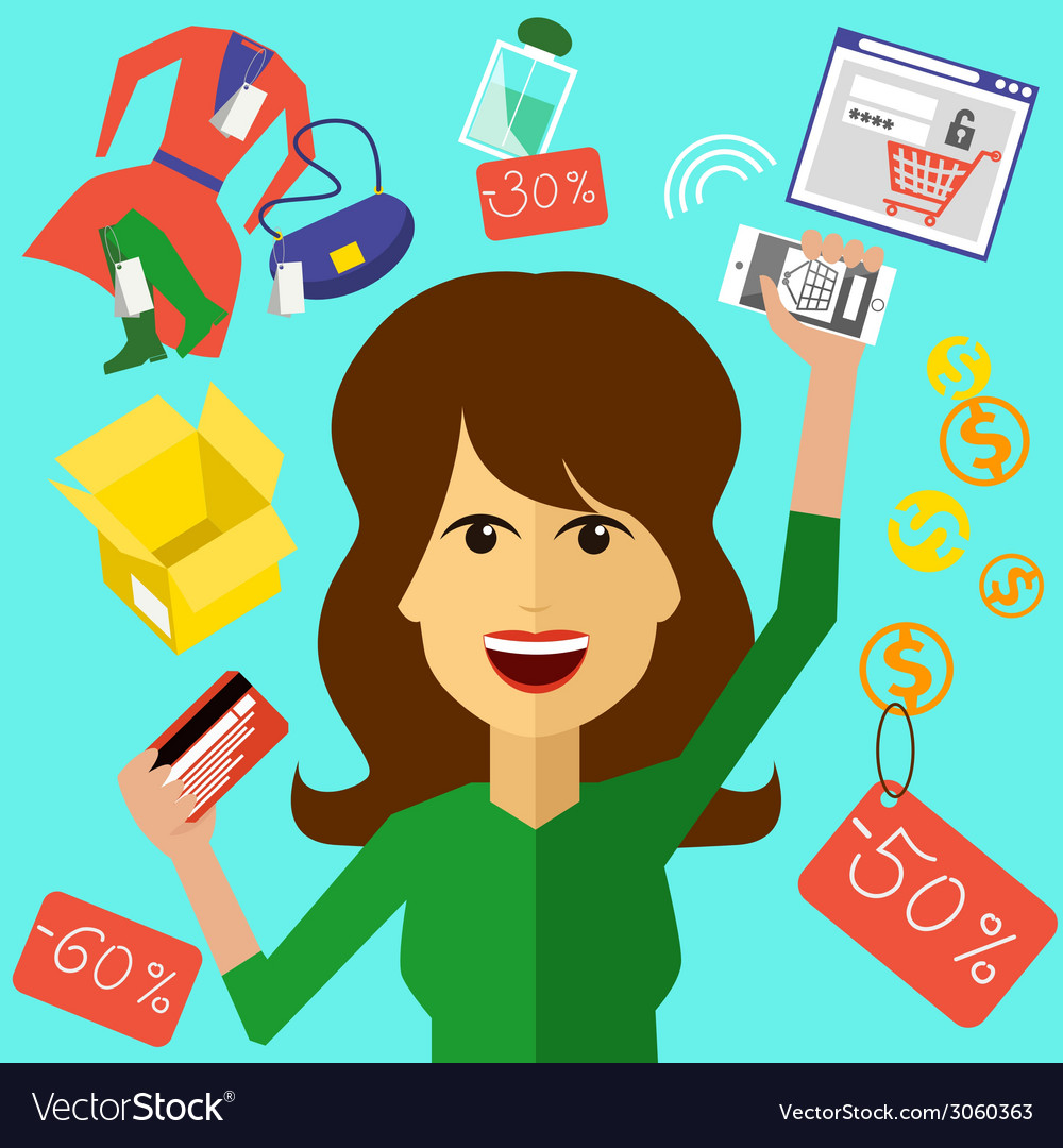 Happy woman with a card and phone in hands vector | Price: 1 Credit (USD $1)